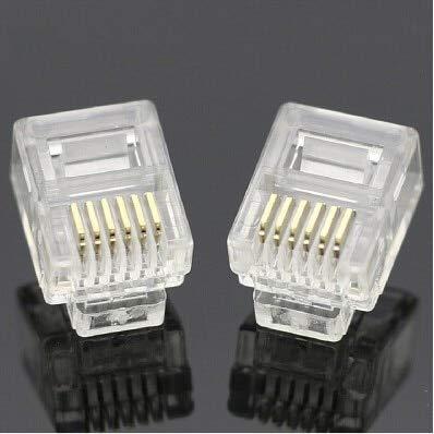 - Davitu 50 pcs/lot Durable RJ11 RJ-11 6P6C 6P4C 6P2C Modular Plug Telephone Phone Connector and NC Crystal Head - (Color: 2 PIN)