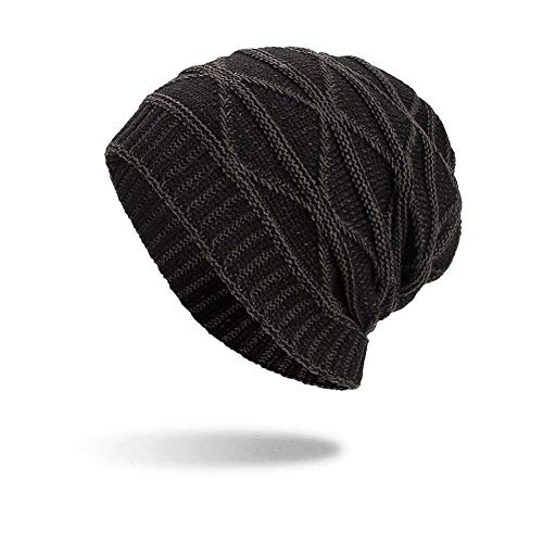 iYBUIA Women Men Warm Baggy Weave Crochet Winter Wool Knit Ski Beanie Skull Caps Hat(Black,One Size) -