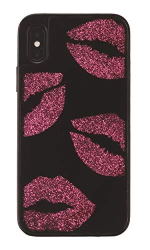 (ONN Hidden Glitter Lips Case for iPhone XR - Black/Pink)