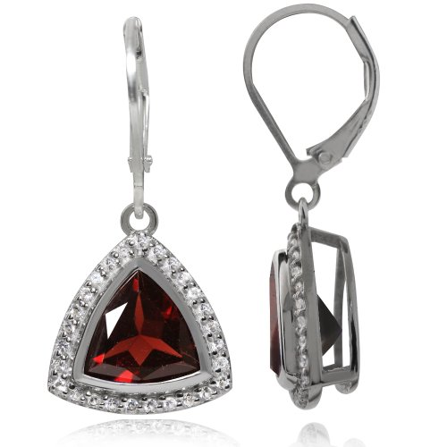 (5.18ct. Natural Garnet & Topaz White Gold Plated 925 Sterling Silver Leverback Earrings)