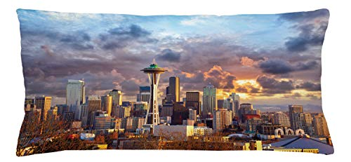 Lunarable USA Throw Pillow Cushion Cover, Seattle Skyline at Sunset WA United States Beams Through Dramatic Cloudscape Scenery, Decorative Accent Pillow Case, 36 X 16 Inches, Multicolor