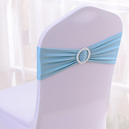 50PCS Spandex Chair Sashes Bows Elastic Chair Bands With Buckle Slider Sashes Bows For Wedding Decorations (Light ()