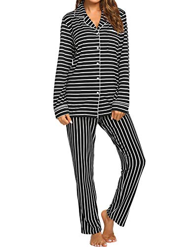 Ekouaer Two Piece Pajamas Women's Button Down Loungewear Long Sleeve Pjs Soft Sleepwear Set (Black,XL)