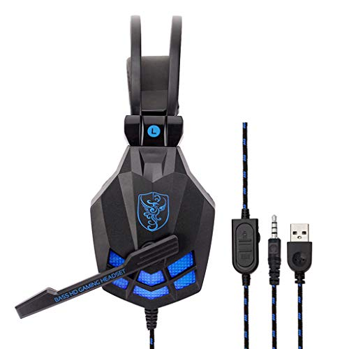Xindda Gaming Headset Headphones with Mic for PS4/XBOX ONE/iPhone USB Wired LED 3.5mm (A)