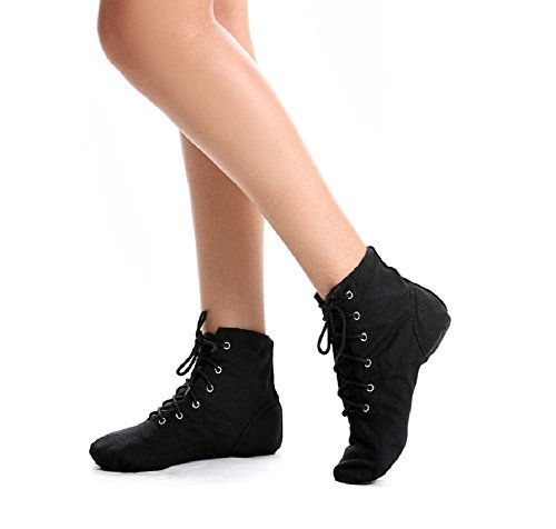 NLeahershoe Lace-up Canvas Dance Shoes Flat Jazz Boots For Practice, Suitable For Both Men and Women (3M(US)/33(EU) Little Kid, Black)
