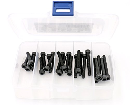 iExcell 25 Pcs 5 Sizes Assortment M5 x 25mm/30mm/35mm/40mm/45mm Hex Socket Head Cap Screws Kit , 12.9 Grade Alloy Steel, Black Oxide Finish