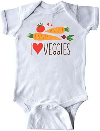 inktastic I Love Heart Veggies Vegetables Healthy Food Infant Creeper
