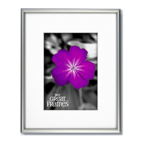 SET of 3 - 8x10 Frosted Silver Aluminum Metal Picture Frames and Glass with Single White Mats for 5x7.