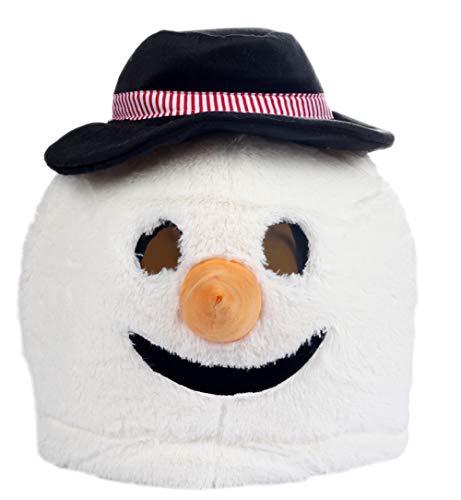 Christmas Plush Snowman Animal Head Mask Halloween Snowman Mascot -
