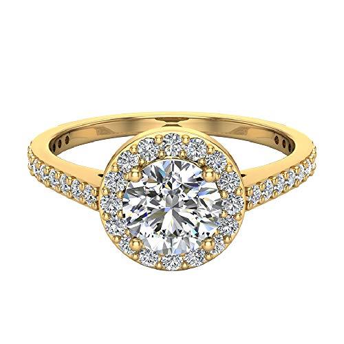 1.15 Ct Diamond - Dainty Halo Diamond Engagement Ring 1.15 carat total weight 14K Yellow Gold (Ring Size 6)