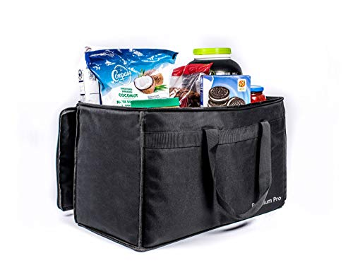 The Original Premium Pro Insulated Food Delivery Bag Perfect for Hot and Cold Food 23 x 15 x 13 Inch Heavy Duty Waterproof Lightweight Foldable Bag Suitable for Groceries, Food Delivery and Catering ()