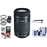 Canon EF-S 55-250mm f/4-5.6 IS STM Lens - Bundle with 58mm Filter Kit (UV/CPL/ND2), Cleaning Kit, Cap Leash, Pro Software Package