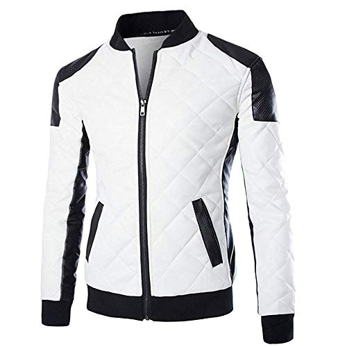 (Cloud Style Men's latticed Baseball Bomber Jacket Slim Fit Coat, Large, White )