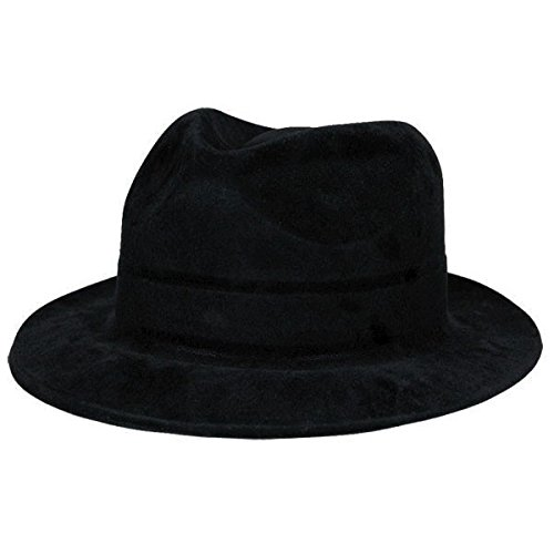 Glamorous 20's Old Hollywood Themed Party Black Gangster Fedora Hat Accessories, Felt, 4