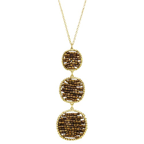 Triple Circle Link Chain - Rosemarie Collections Women's Beaded Triple Circle Long Pendant Necklace (Bronze)