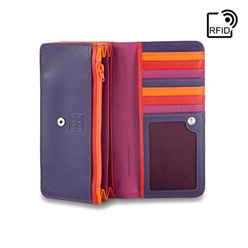 DUDU RFID Blocking Womens Leather Purse Ladies Wallet Multicolor with Coin pocket and Snap closure - Colorful Collection ~ RFID