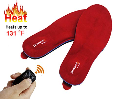 Dr.Warm Rechargeable Heated Insole with Remote Control Switch Wireless Foot Warmer for Hunting Fishing Hiking Camping Unisex [L]