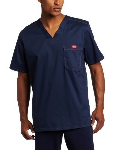 Dickies Men's Men's top,Navy,Large (Dickies Scrubs Top)