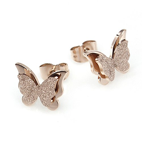 - Titanium Stainless Steel-Natural Shell Anti-Allergy Stud Earrings Matte Finish Butterfly Shaped Earrings Rose-Golden Plated Color Fading Proof