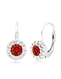 Sterling Silver Halo Leverback Birth Month Earrings with CZ UNICORNJ Italy 4mm