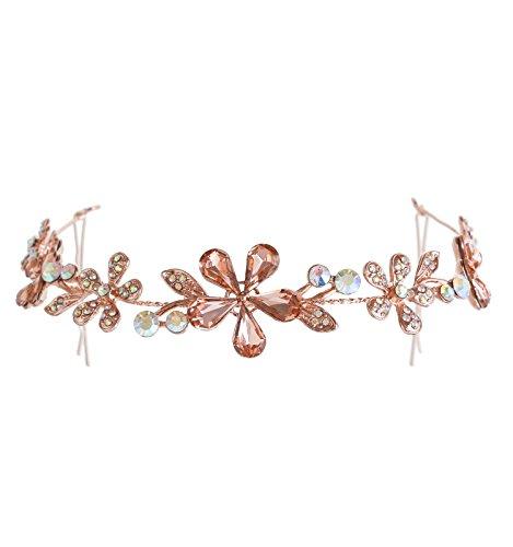 NLCAC Bridal Flower Rhinestones Crystal Wedding Headband Tiara (rose - Necklace Imitation Pearls Floral
