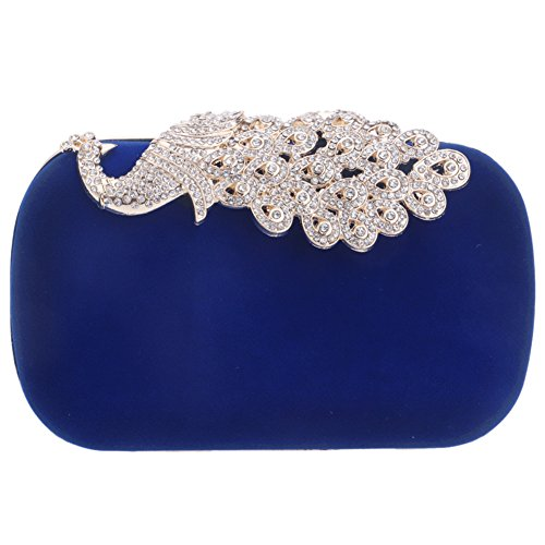 Wallet Elegant Womens Chain Evening Wedding PU Dress Blue Bags Bag Purses Shoulder Clutch Ladies 6ZFq6rwA