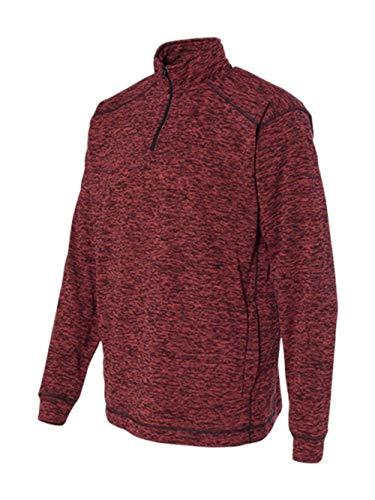 (J America Men's Cosmic 1/4-Zip Fleece Pullover, Red Fleck, Large)