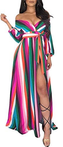 Womens Casual Rainbow Print Wrap V Neck Belted Long Maxi Dress with Sleeves Plus Size