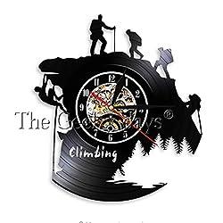 JIAOHJ Climbing Series Vinyl Record Wall Clock,Hanging Living Room Table Clock,Fashion/Art/Design/Creative/Simple/Modern/Wall Clock,A,30cm