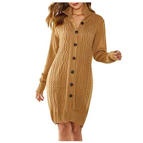 YOCheerful Long Cardigan Women Solid Long Sleeve Knitting Belt Open Casual Coat Blouse Button Jacket