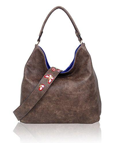 SwankySwans - Daria Velvet Reversible Bag, Borse a spalla Donna Blu (Royal Blue)