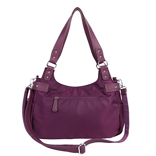 Purse Angelkiss Womens Design purple Large d Top Shoulder Soft Handbags Lether Feel Bags Multiple �� Pockets Nylon Zipper tHqtErxwd