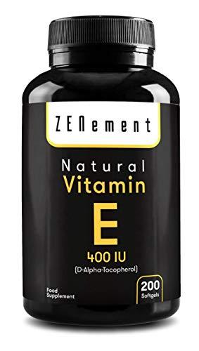 Natürliches Vitamin E - 400 IE, 200 Kapseln | Antioxidans, das Zellen vor oxidativem Stress schützt | von Zenement