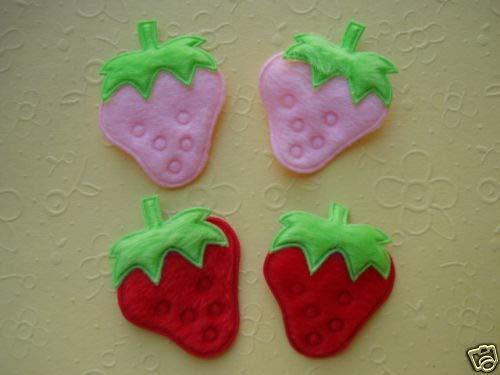 50 Pink & Red Strawberry Felt Applique+ Rhinestone/Craft/Trim/Sewing/Cute