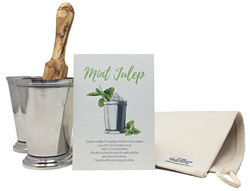 Mint Julep Cocktail Essential Tool Kit - (2) 12oz Cups, Lewis Bag, Muddler/Mallet and Recipe Card (5 items) (Steel Cup Stainless Julep)