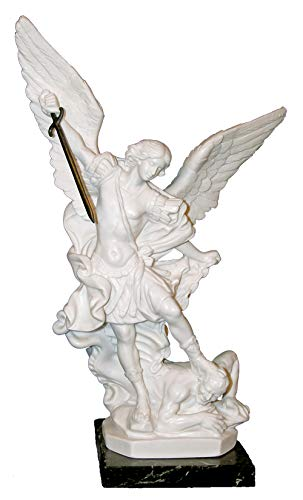 (Hail Mary Gifts A St. Michael The Archangel Statue in White Alabaster on a Marble Base, 9.5