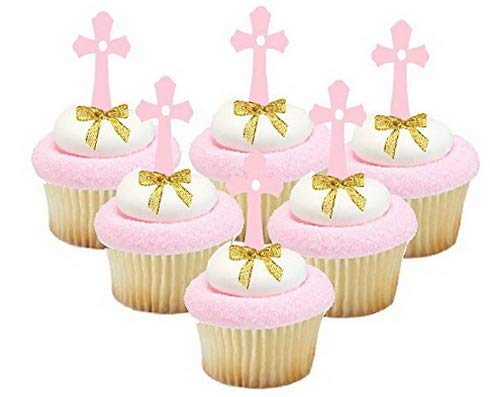 Mikash First Communion/Christening/Baptism/Wedding Cake & Cupcake Tion Toppers (12pk Pink Cross Picks Gold Bow) | | Model WDDNG - 2291