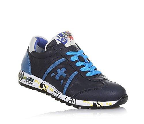 PREMIATA - Blauer Schuh mit Schnürsenkeln aus Leder, hellblaue Einsätze,  auf der Zunge ein a7fd05135d