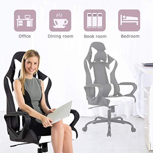 BestMassage High-Back Leather Chair Ergonomic Rolling Chair Headrest Lumbar Support Women, Men