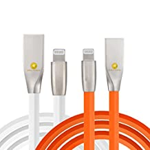 3ft (1m) Durable TPE Diamond Design Zinc Alloy USB to Lightning Cable Sync / Charge Cord (2PACK) for iPhone 7/7 Plus, 6S/6S Plus, iPad (Orange White)