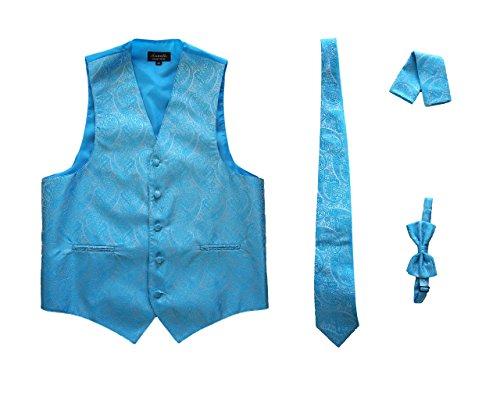 Amanti - Men's 4pc Set Paisley Tuxedo Vest Vest / Tie / Hanky / Bow Tie (X-Small (Chest:37