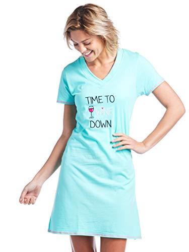 Nightshirt Womens Funny - Caramel Cantina Women's Night Shirt Vneck Cotton Short Sleeve (Medium, Wine Down)