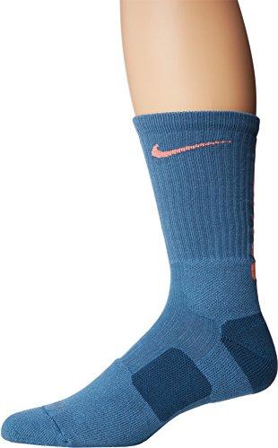 Nike Elite Basketball Crew 1-Pair Pack, Rift Blue Bright Mango, LG (Men's Shoe 8-12, Women's Shoe 10-13)