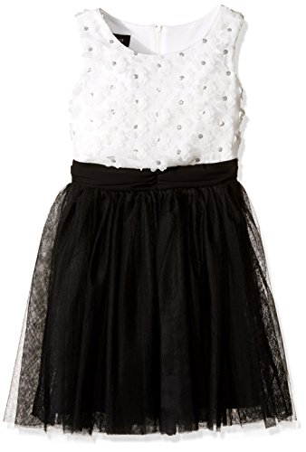 Amy Byer Girls' Big Soutache Bodice Dress with Mesh Skirt, Color Ivory/Black, 16