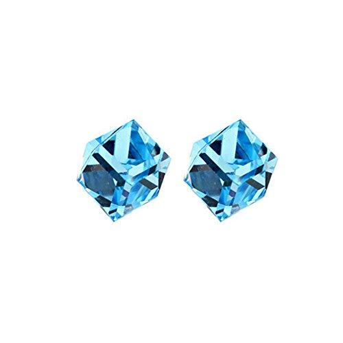 925 Sterling Silver CZ Baroque Cube Austrian Crystal Drop Hook Stud Earrings Water Cube for ()