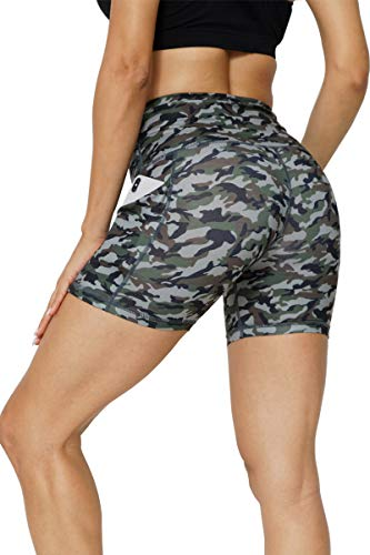 GEMLON Womens Yoga Shorts Camouflage Workout High Waisted with Two Pockets Non See-Through Tummy Control Athletic Shorts