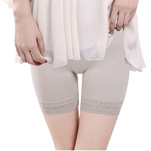 - LONTG Women Safety Shorts Lace Cotton Short Pants Underskirt Shorts Under Dress Shorts Gray
