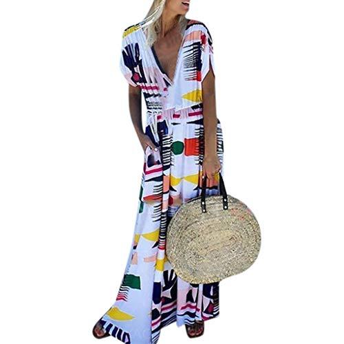 Nuewofally Women's Short Sleeve Bohemian Print Dress Deep V Neck Cotton Linen Split Baggy Long Maxi Dress (White,XL)