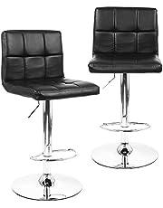 Moustache ® Set of 2 High Back Swivel Adjustable Black PU Leather Pub Bar Stool Chair for Kicten Island, with Backrest & Footrest