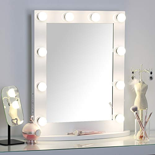 MissMii Hollywood Lighted Makeup Vanity Mirror with Lights,Bedroom Lighted Standing Mirror with Dimmer,LED Cosmetic Mirror with Dimmable Bulbs,Wall Mounted Lighting Mirror,2 USB Ports 2 Power Outlets